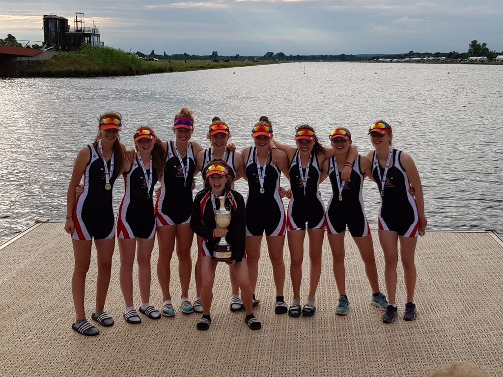 LEH School Senior Rowing Squad winning Championship Girls VIIIs at NSR2019