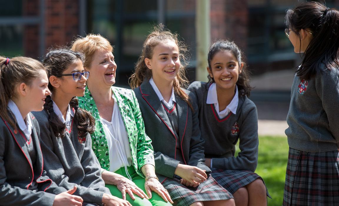 LEH Head Mistress Mrs Hanbury with students