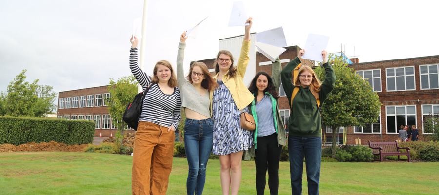 LEH students celebrating A level results