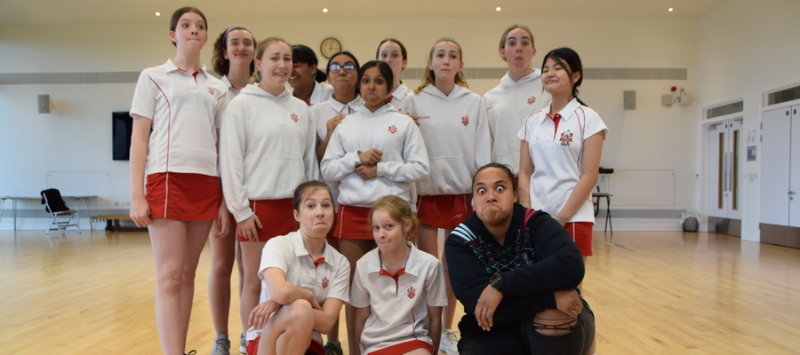 Learning the Haka with Alicia Sailia from Harlequinns Ladies on International Women's Day at LEH School