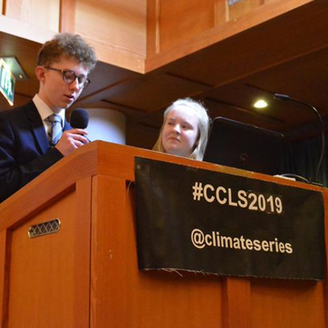 Leys pupils introduce the speaker