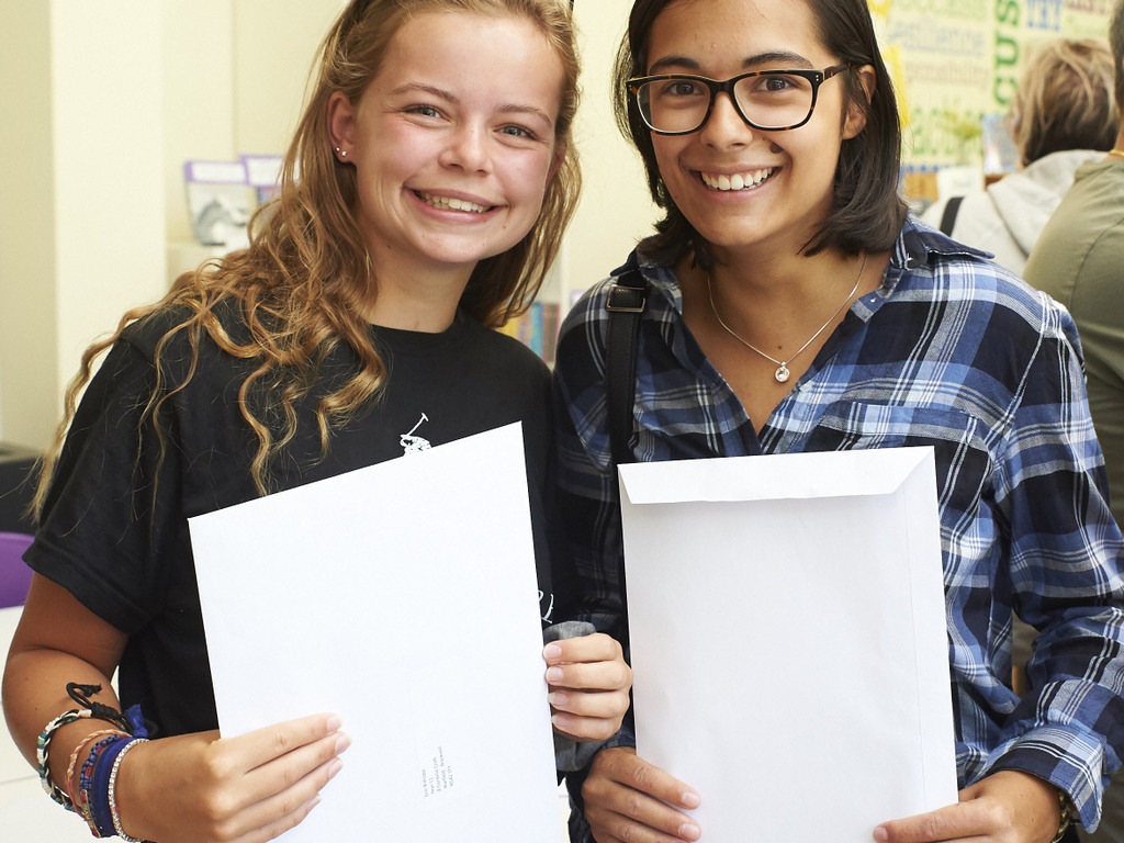 3. Erin B and Madeleine S receiving their GCSE results