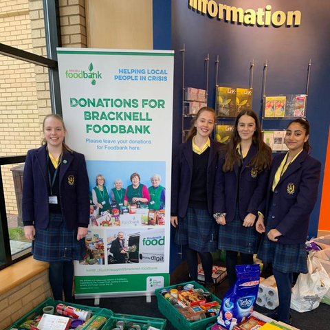 Pupils from The Marist School delivering donations to The Trussell Trust Foodbank in Bracknell