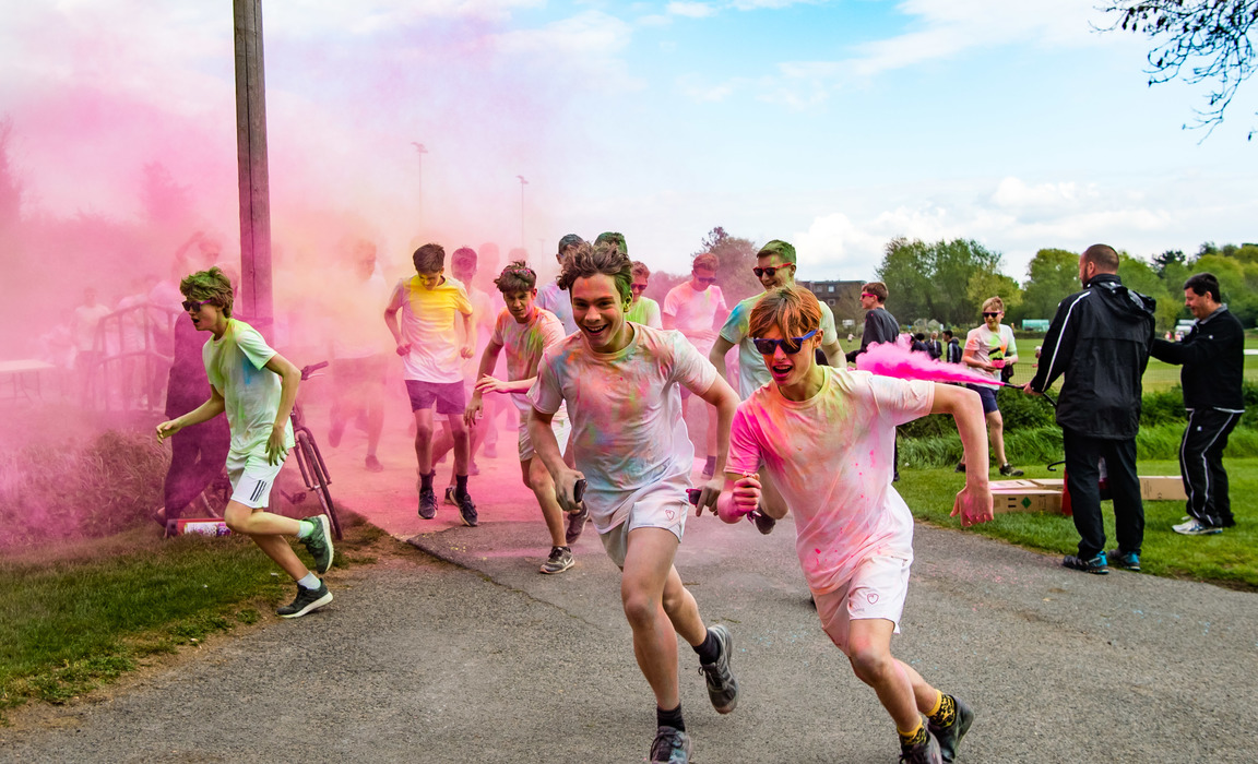 Hundreds of Tonbridge boys took part in the Colour Run in May 2019, raising funds for Child Action Lanka.