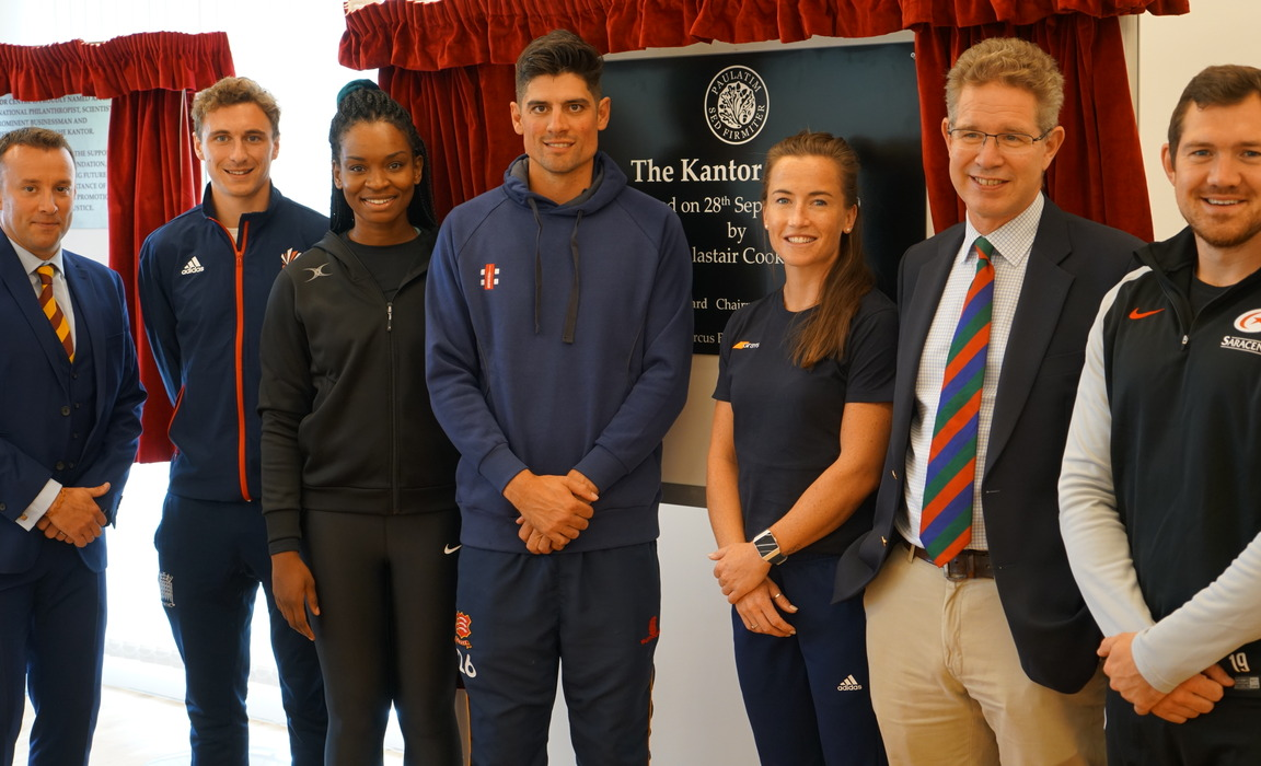 Director of Sport, Ed Sawtell (far left), was delighted to welcome a number of sports stars to open the Kantor Centre at UCS.