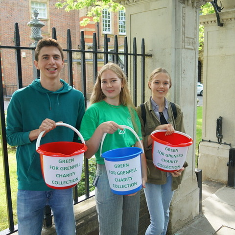 Year 12 pupils at University College School fundraising for The Fire Fighters Charity.