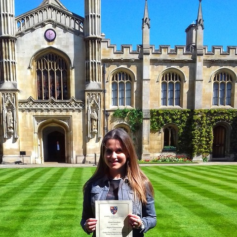 Charli received her prize at an award ceremony at Corpus Christi College, Cambridge University.