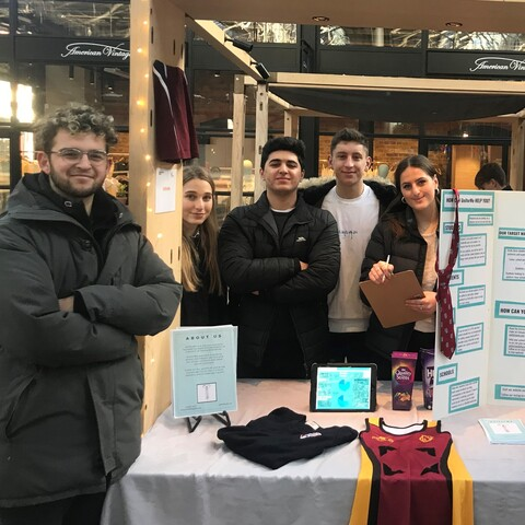 One of the UCS Young Enterprise teams at a networking event in Spitalfields Market back in February.
