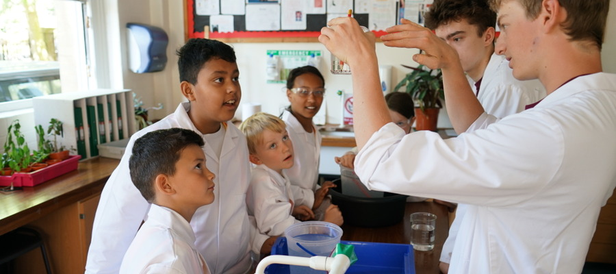 Primary pupils loved being taught science by the UCS Sixth Former Students