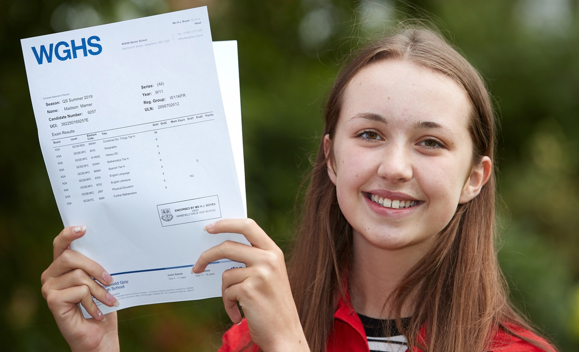 Wakefield Girls' High School student Madison Marner celebrates her GCSE results