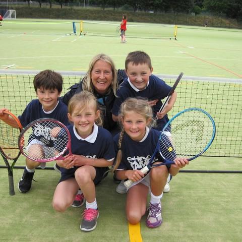 U9 Devon Tennis Champions with Mrs Rachel Thompson, Head of Tennis at West Buckland School