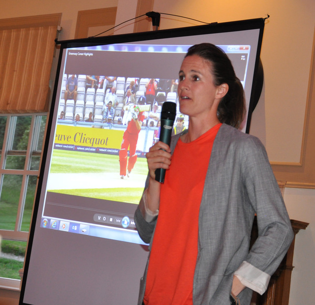 Former England cricketer advises Woldingham pupils to keep setting new goals.