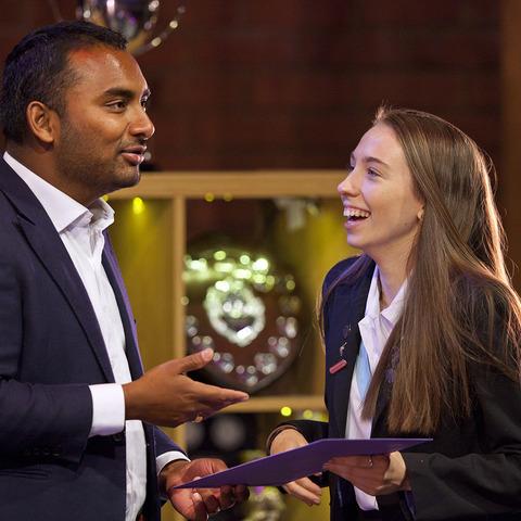 Amol Rajan presents prizes at Woldingham School Prize Day